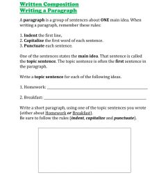 Writing a Paragraph worksheet [ 1291 x 1000 Pixel ]