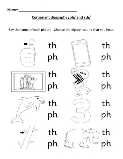 small resolution of Consonant Digraph (ph-th) worksheet