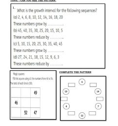 Can you see the pattern class 5 worksheet [ 1291 x 1000 Pixel ]