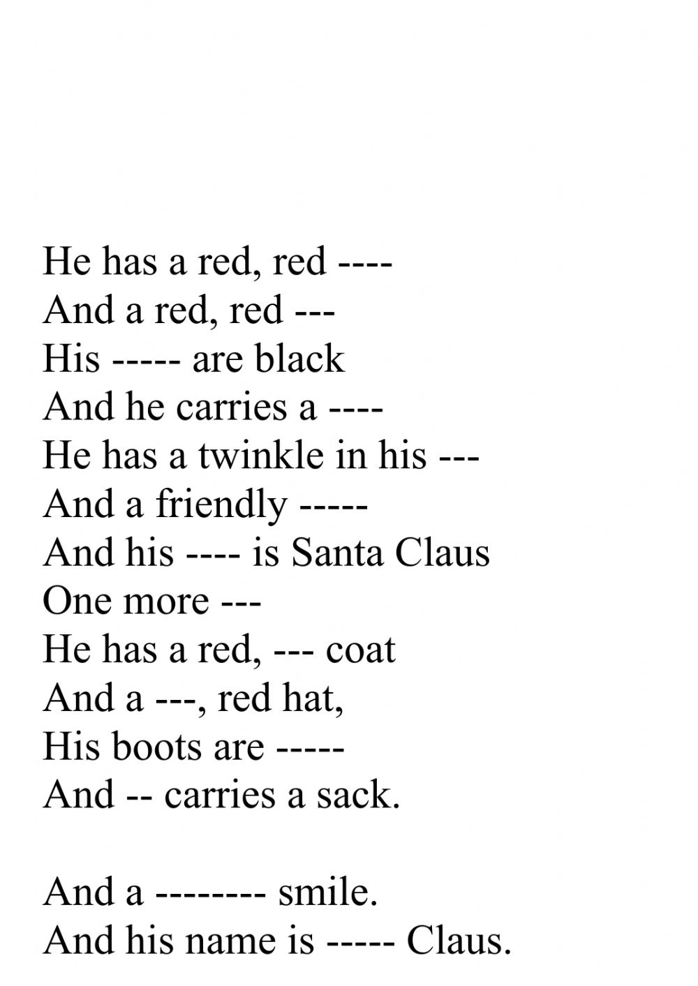 He Has A Red Red Coat : Worksheet