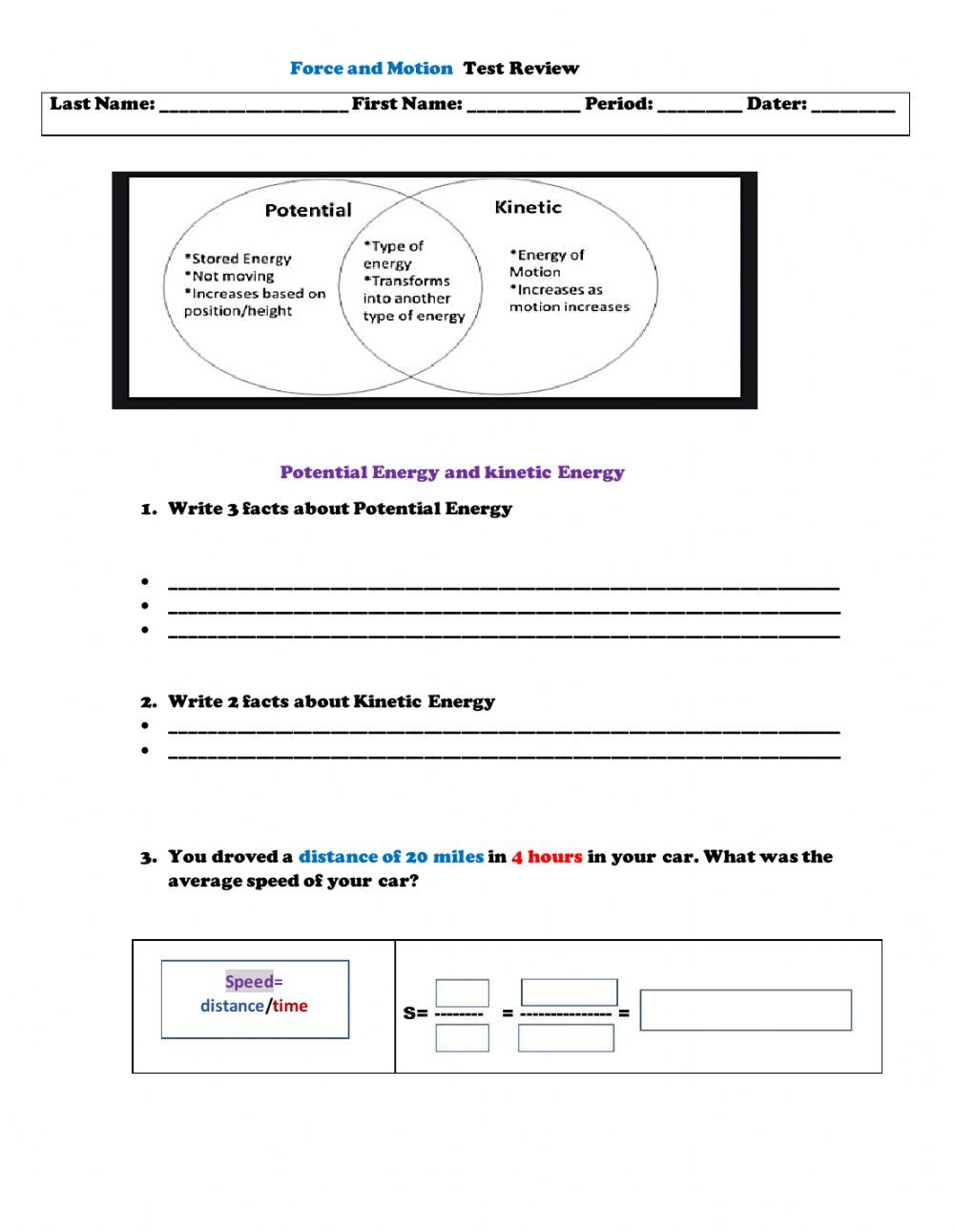 hight resolution of Force and Motion online worksheet