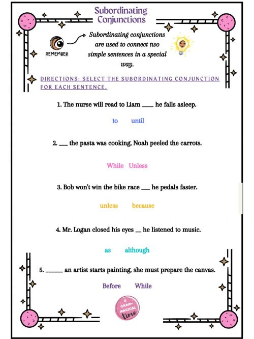 small resolution of Subordinating Conjunctions - Grammagical Time worksheet