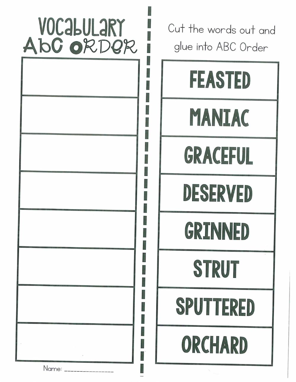 hight resolution of Vocab ABC Order worksheet