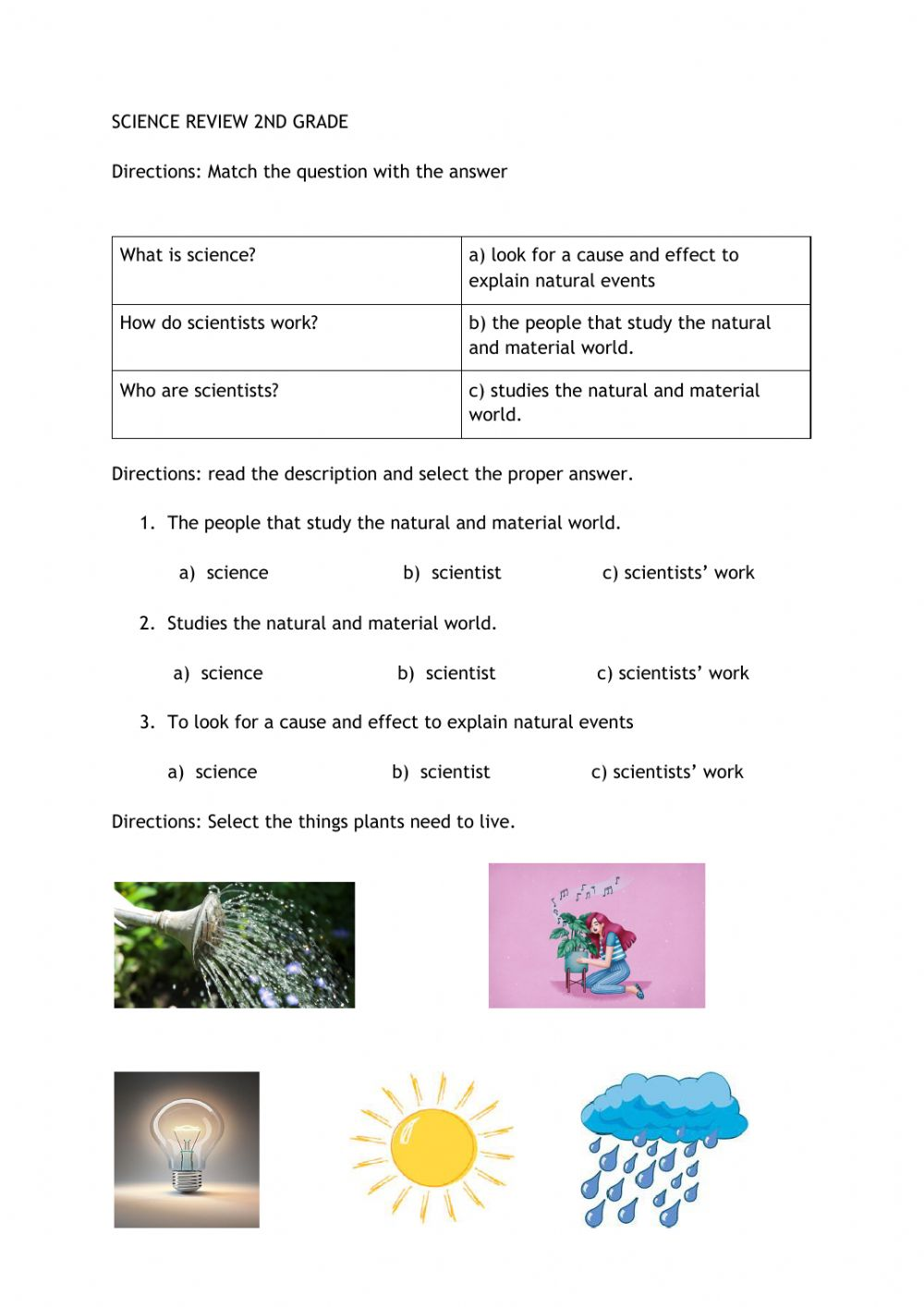 hight resolution of SCIENCE REVIEW 2nd grade interactive worksheet