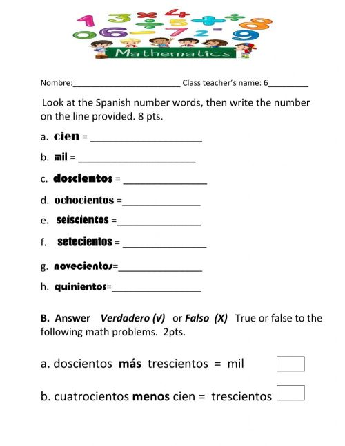 small resolution of Numbers online exercise for Grade 6