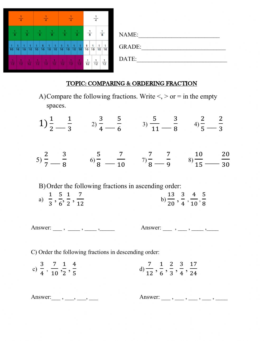 hight resolution of Comparing \u0026 Ordering Fractions worksheet