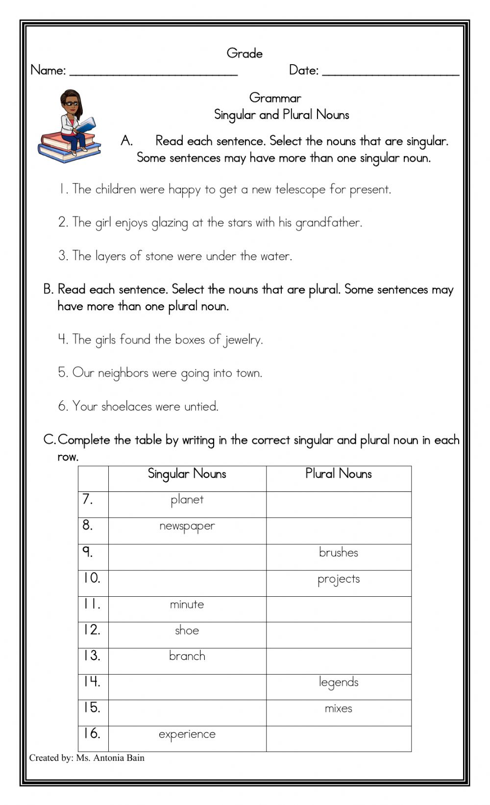 Singular And Plural Nouns Exercises With Answers Singular Plural Nouns Quiz  – Cute766