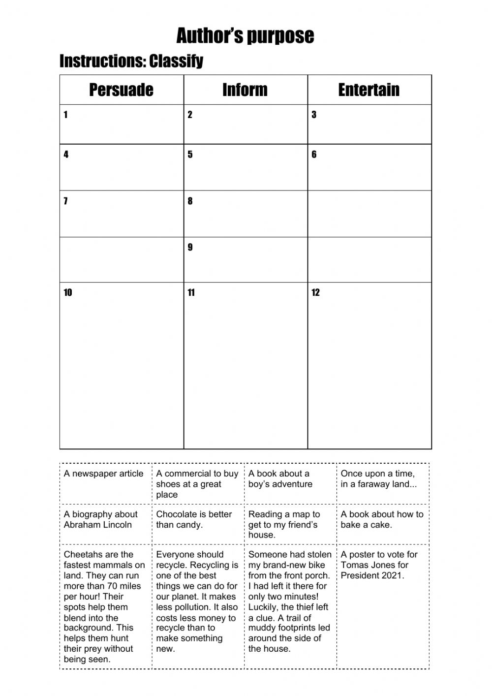 hight resolution of Author's purpose online worksheet