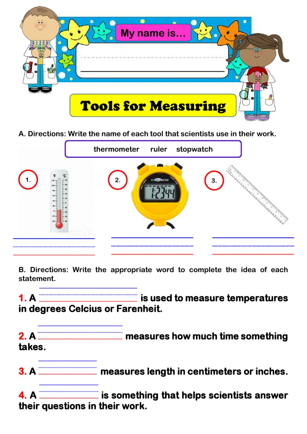 hight resolution of Science Tools for Measuring worksheet