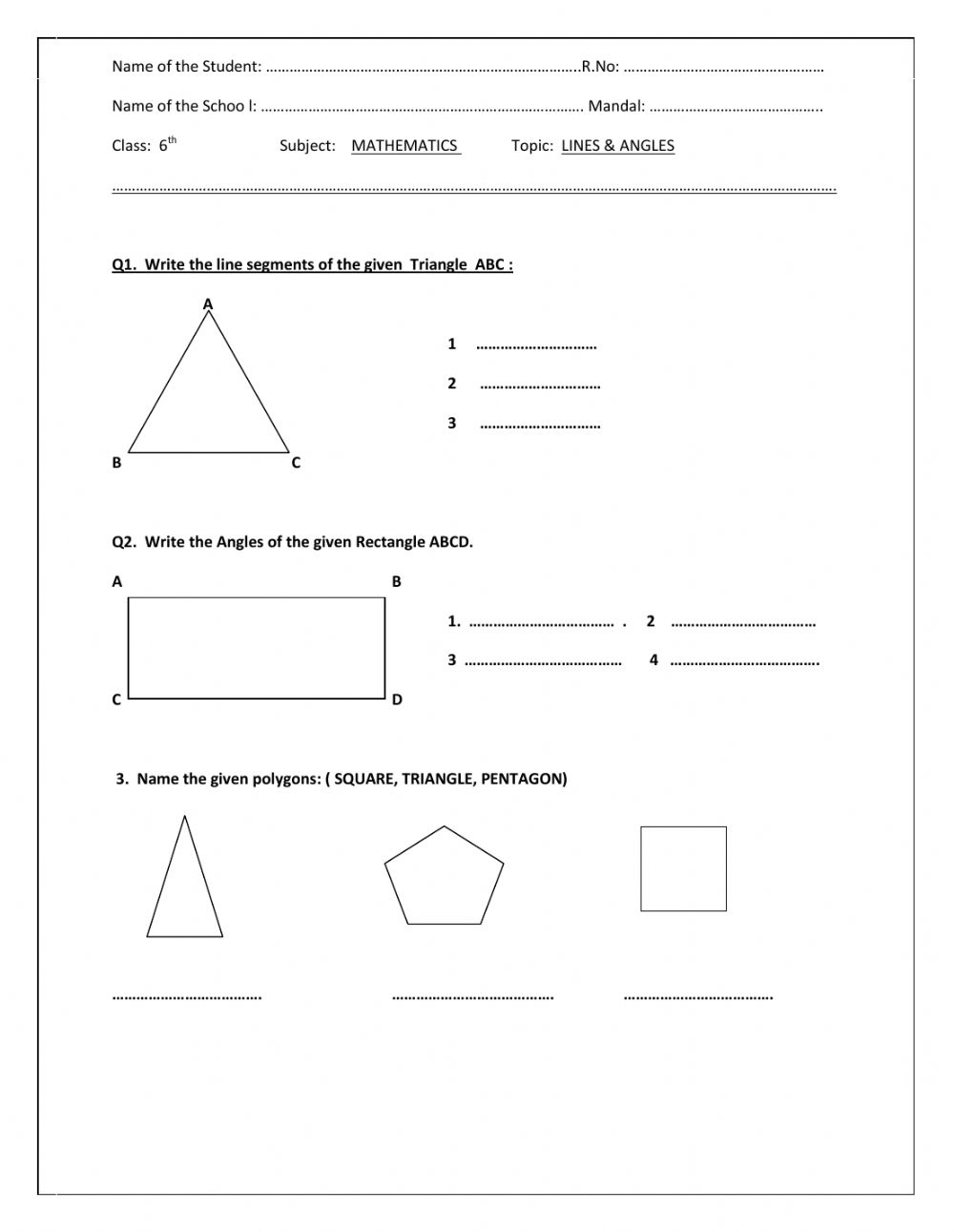 hight resolution of Lines \u0026 angles worksheet