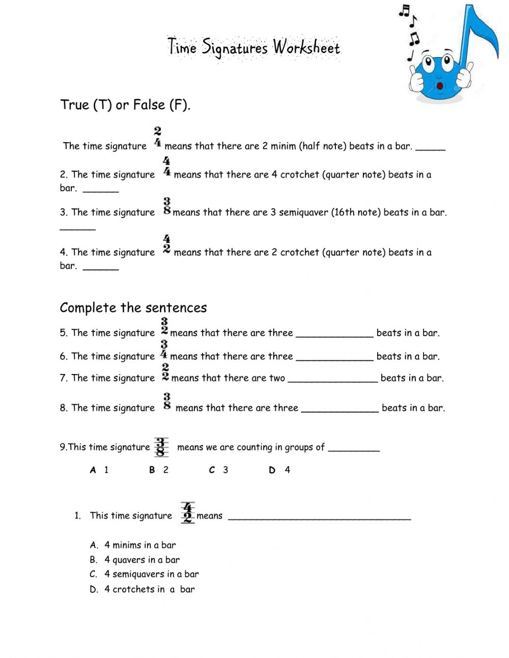 hight resolution of Time Signatures - Grade 2 worksheet