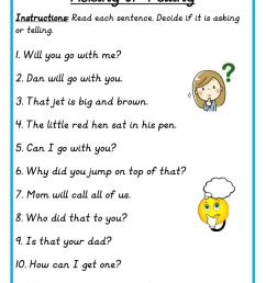 Asking or Telling Sentence worksheet [ 1291 x 1000 Pixel ]