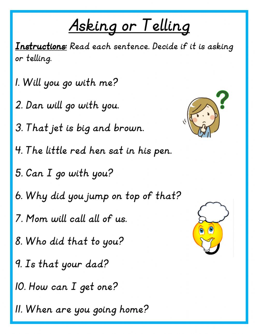 hight resolution of Asking or Telling Sentence worksheet