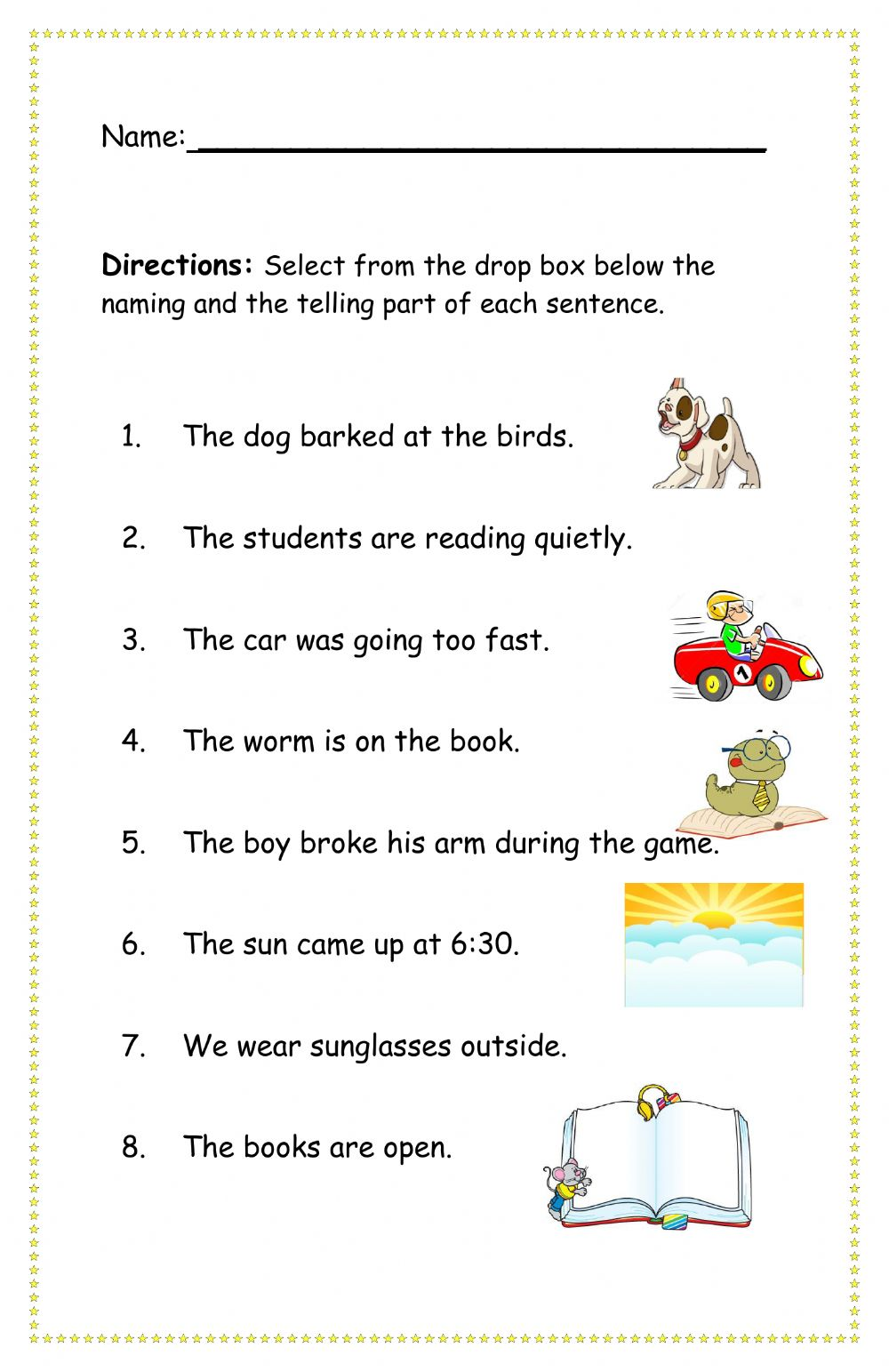 hight resolution of Naming and Telling Part of a Sentence interactive worksheet