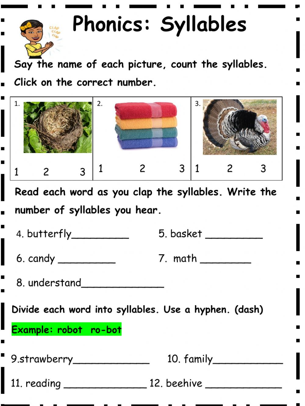 medium resolution of Syllables interactive worksheet for 3