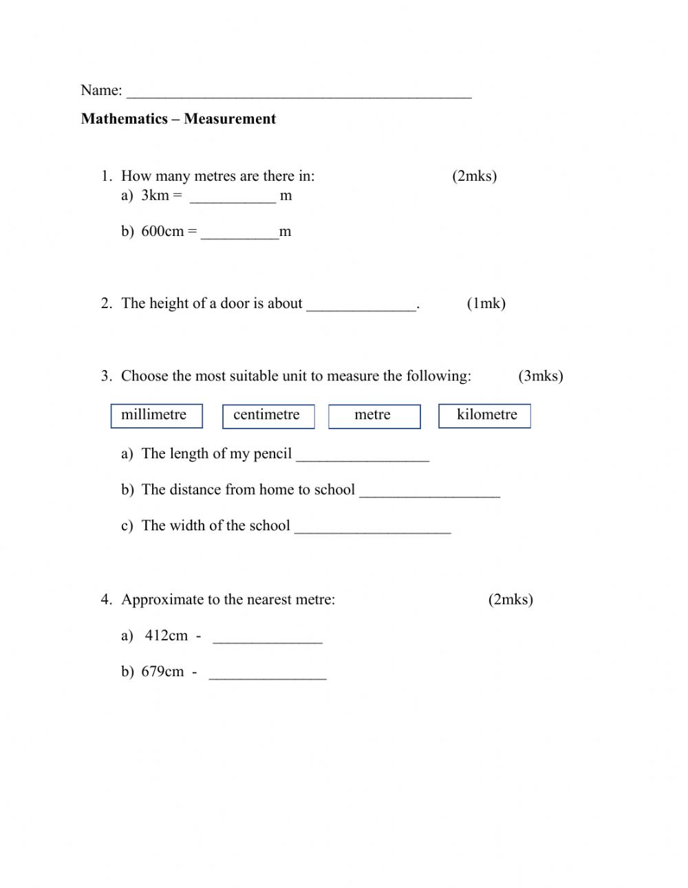 hight resolution of Measurement online exercise for Grade 3