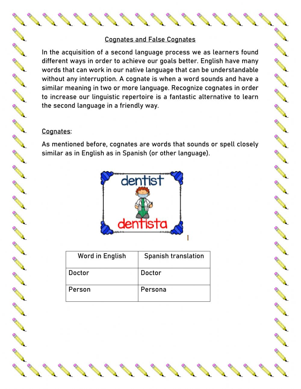 hight resolution of Cognates and false cognates activity