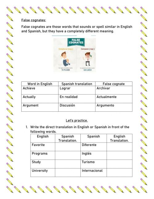 small resolution of Cognates and false cognates activity