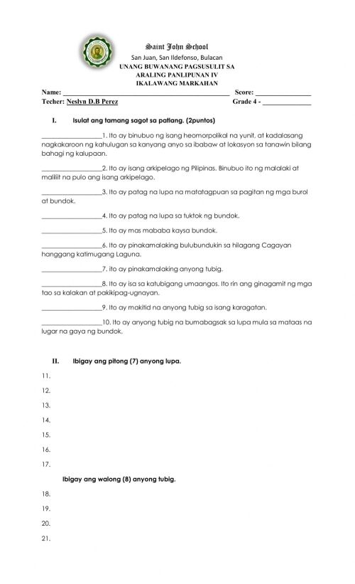 small resolution of Monthly exam exercise for Grade 4