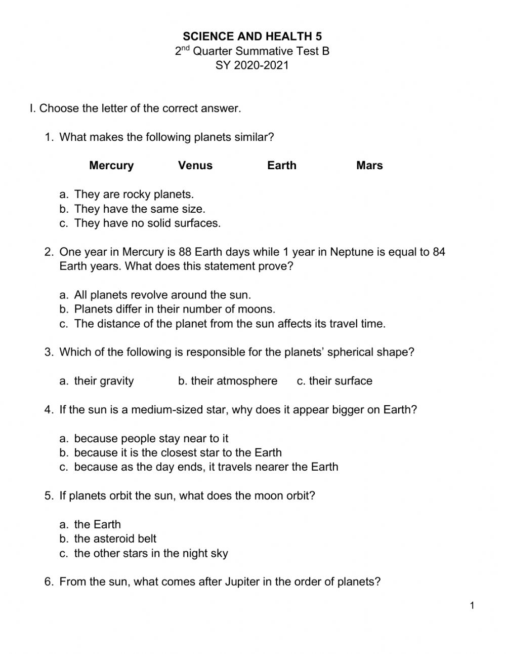 hight resolution of Science 5 2nd Qtr Summative Test B worksheet