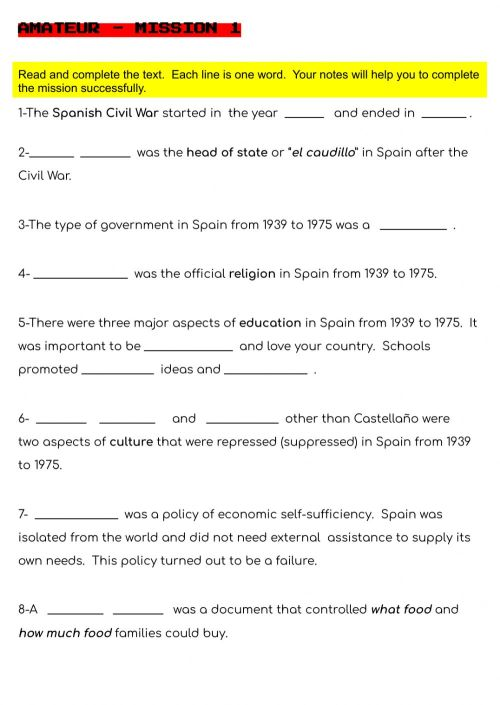 small resolution of 20th Century Spain worksheet
