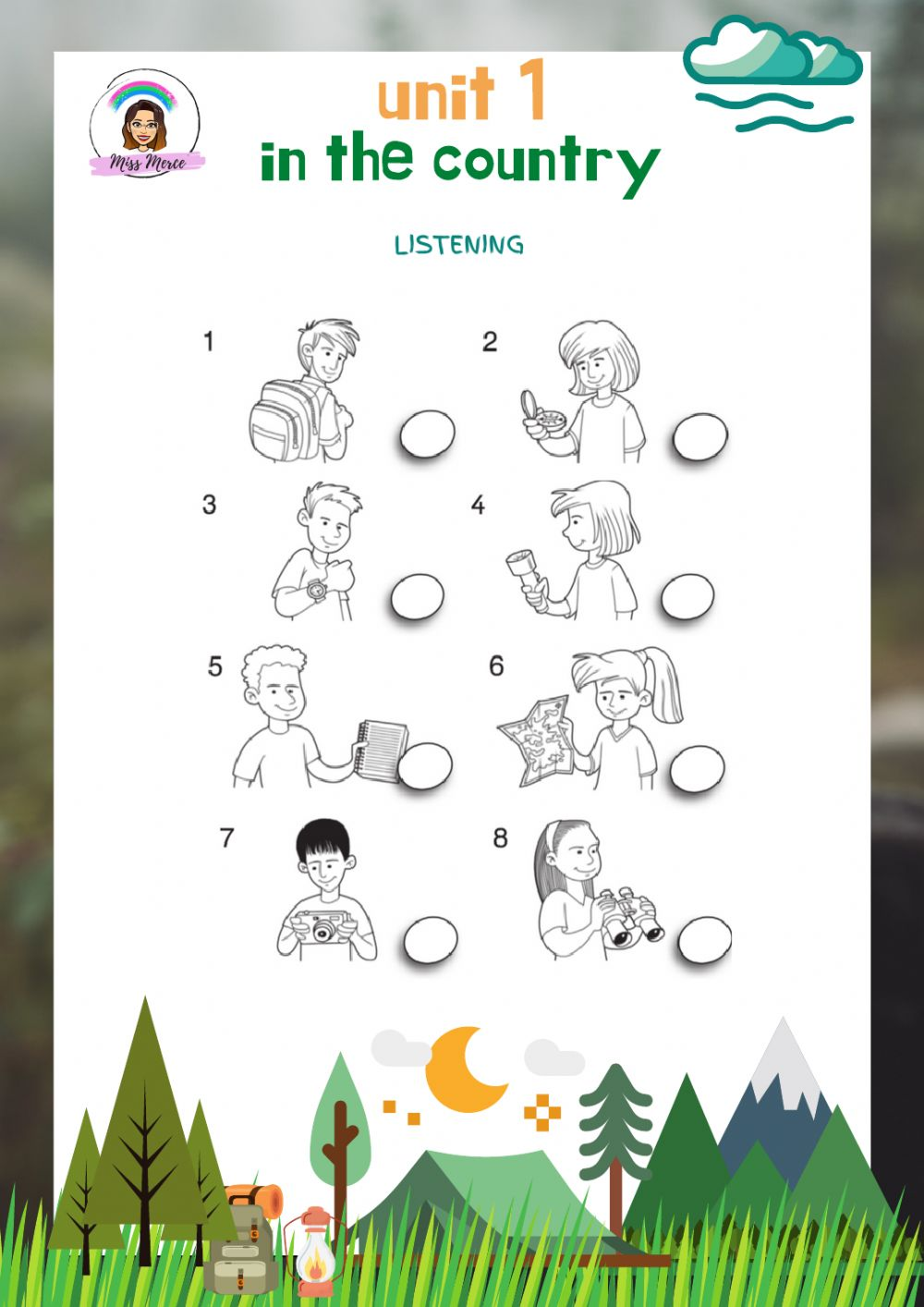 medium resolution of Explorers Level 3 Unit 1 Adapted Listening: In the country worksheet