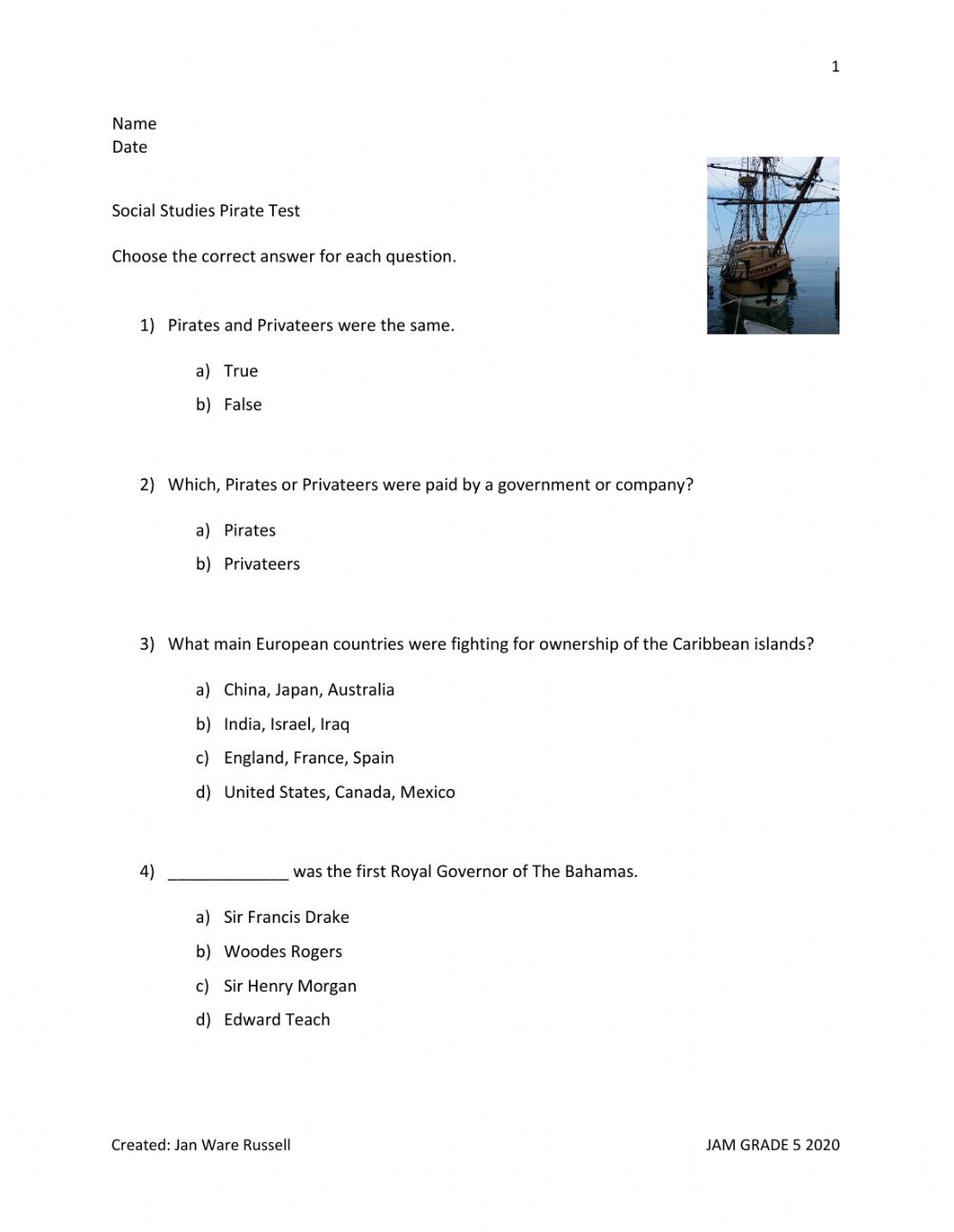 hight resolution of Social Studies Pirate Test worksheet