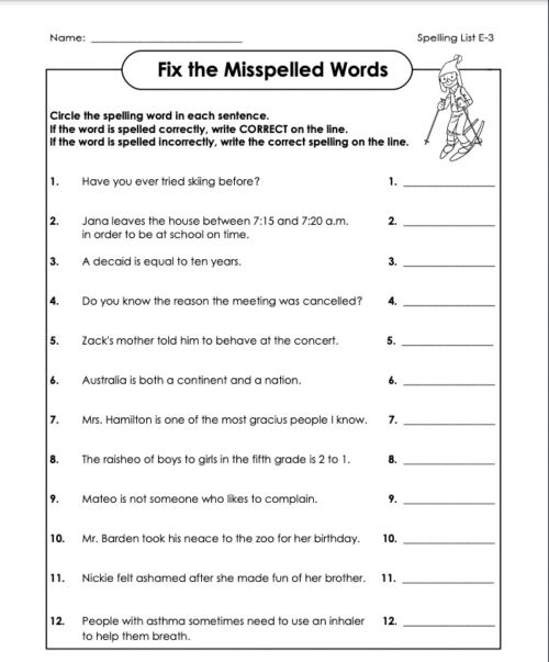 small resolution of Fix the mistakes e-3 6th grade worksheet