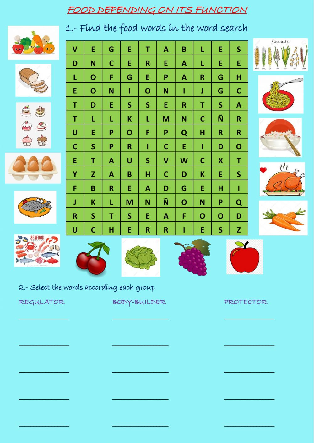 hight resolution of Food online exercise for 4th grade