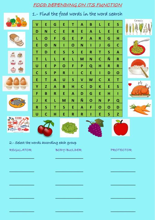 small resolution of Food online exercise for 4th grade