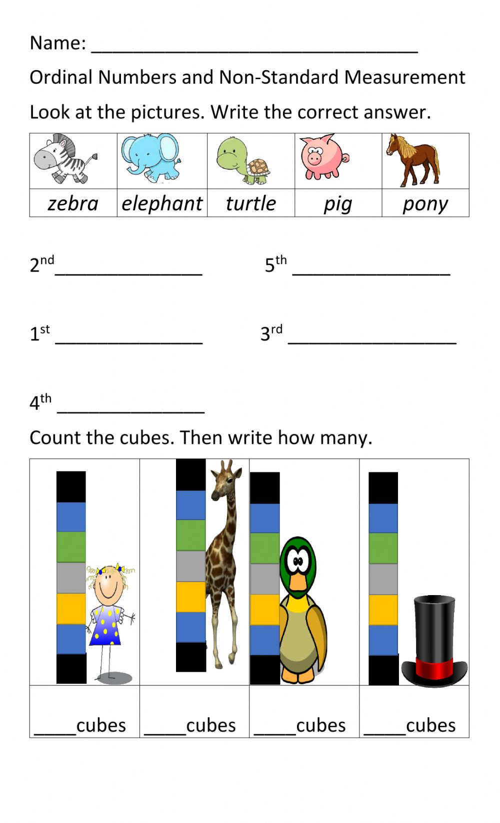 hight resolution of Ordinal Numbers and Non Standard Measurement worksheet