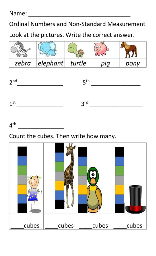 small resolution of Ordinal Numbers and Non Standard Measurement worksheet