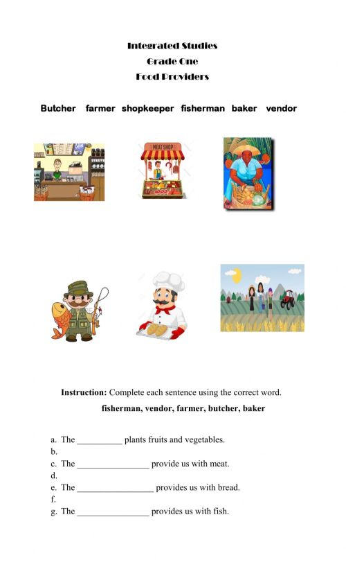 small resolution of Food Providers worksheet