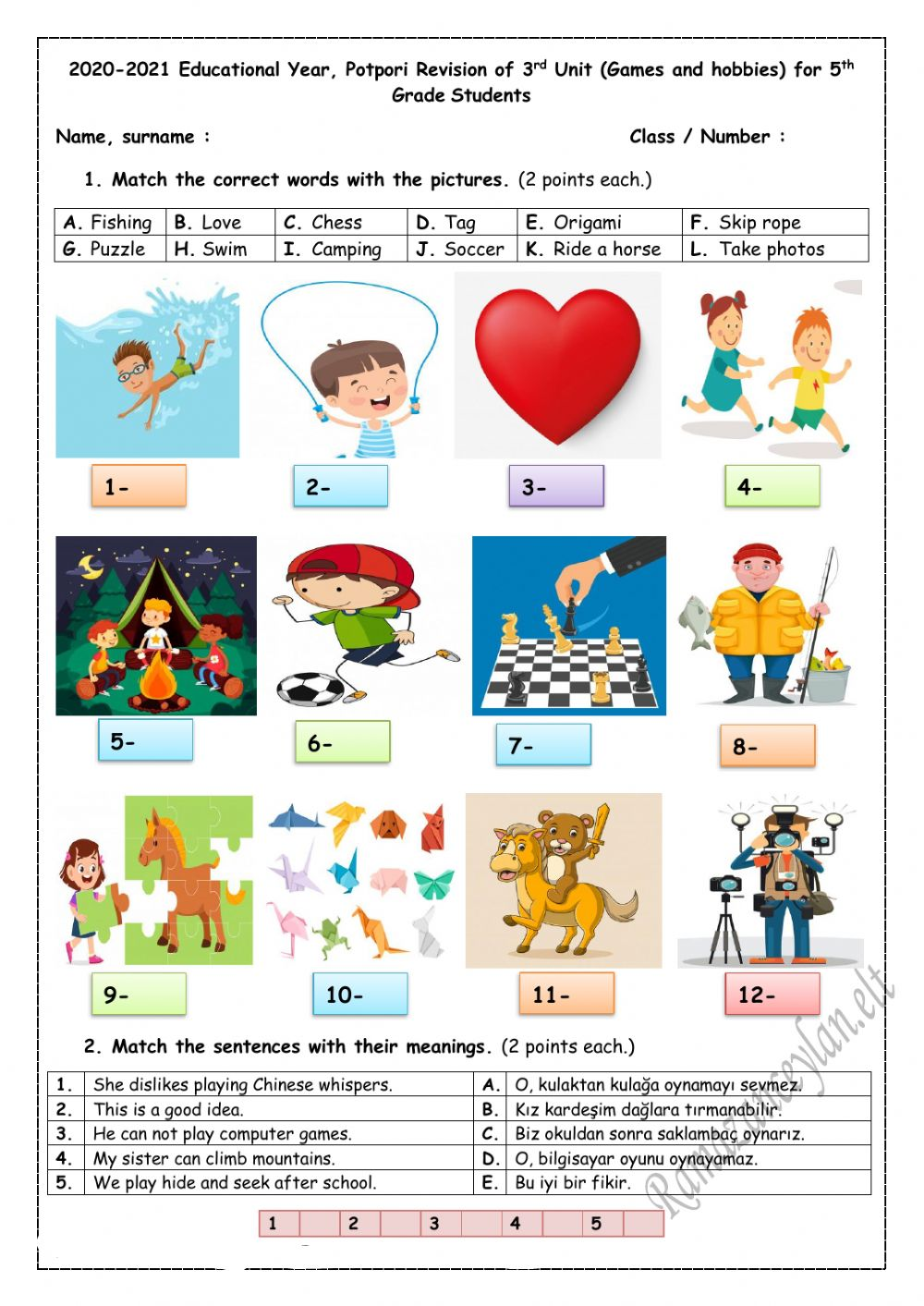 hight resolution of 5.3. Games and Hobbies Quiz worksheet
