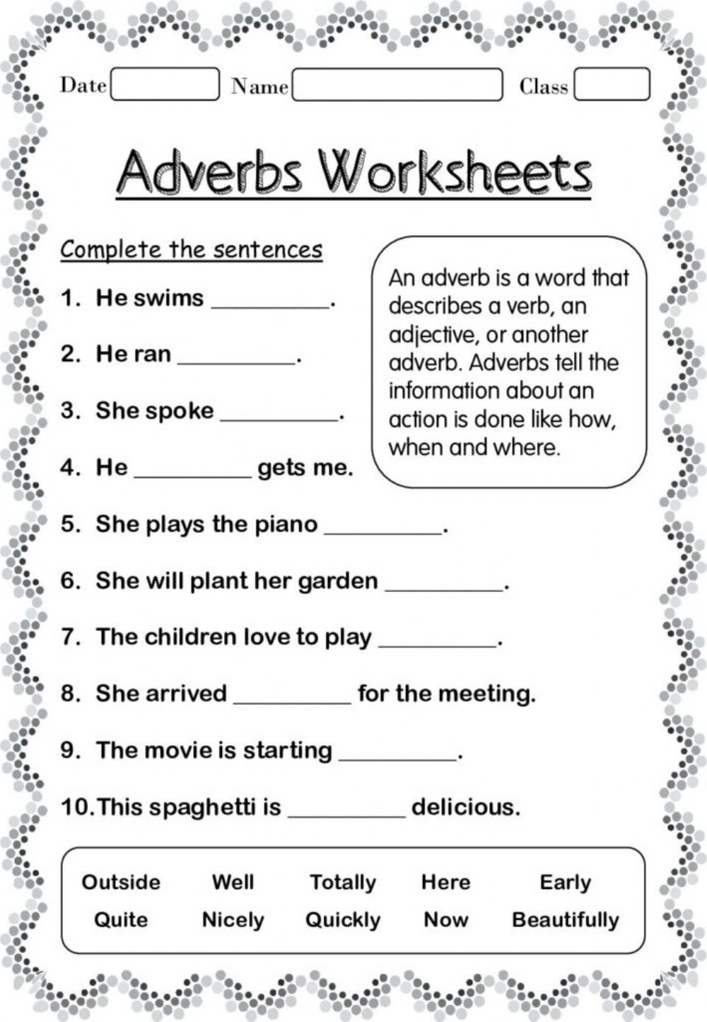 medium resolution of Adverbs interactive worksheet for 4 TO 6