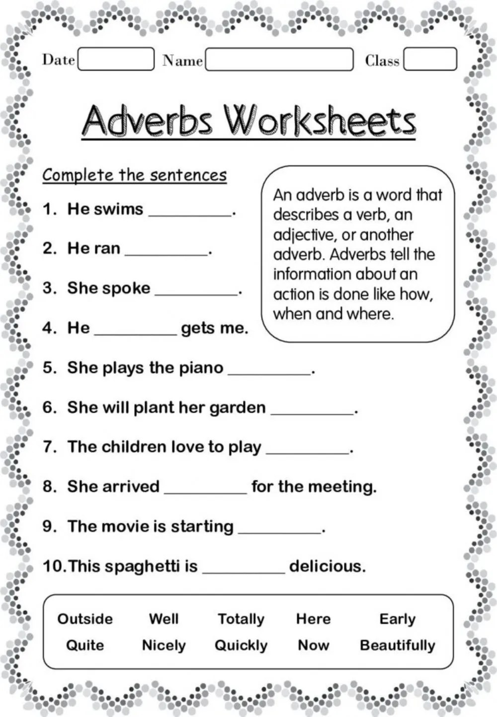 hight resolution of Adverbs interactive worksheet for 4 TO 6