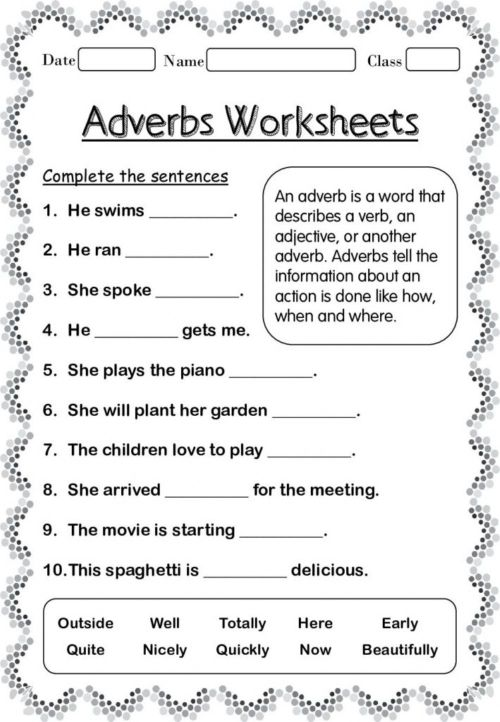 small resolution of Adverbs interactive worksheet for 4 TO 6