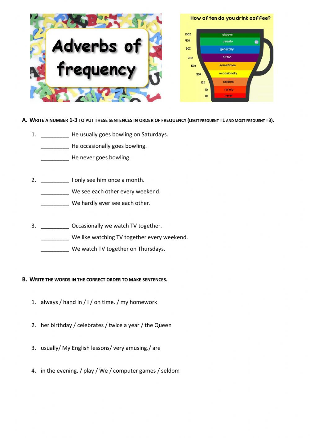 hight resolution of Adverbs of frequency online exercise for 7th grade