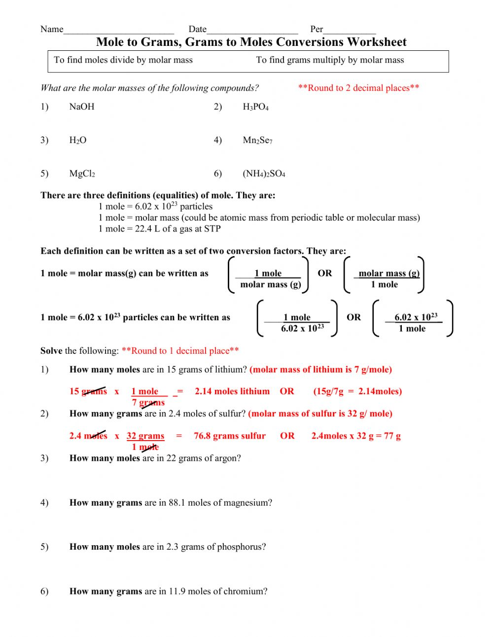 hight resolution of Moles and grams - stoichiometry worksheet