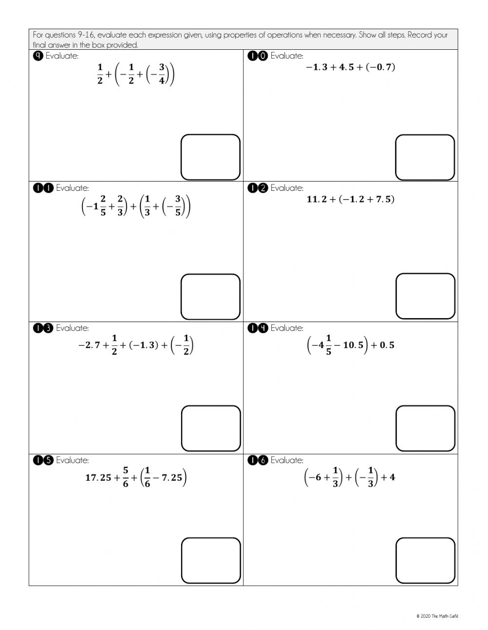 medium resolution of Adding and Subtracting Rational Numbers using properties worksheet