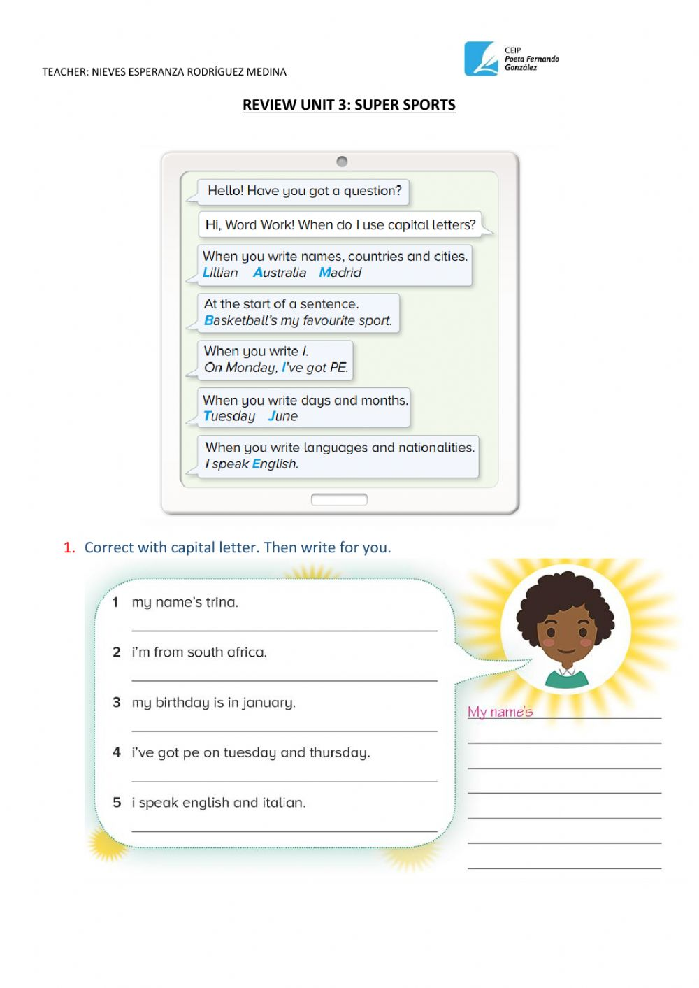 medium resolution of Capital letters online activity for 4th grade