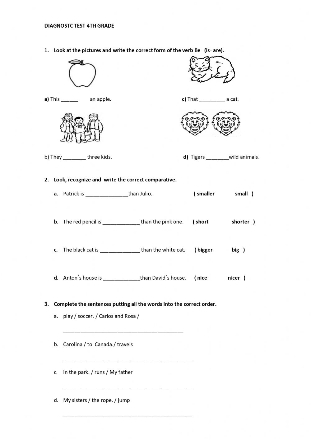hight resolution of 4th grade Diagnostic Test worksheet