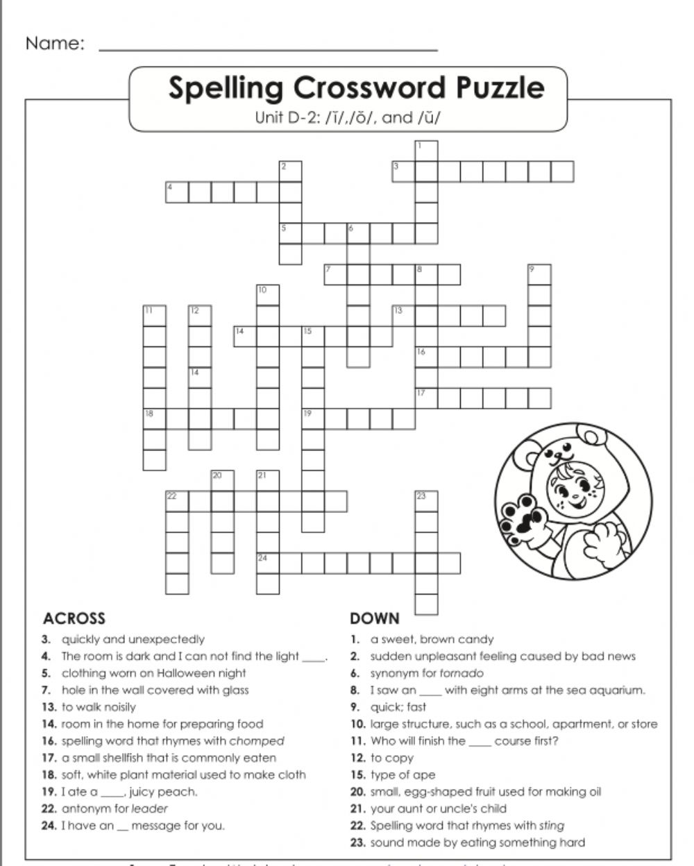 hight resolution of Crossword puzzle D-2 5th grade worksheet
