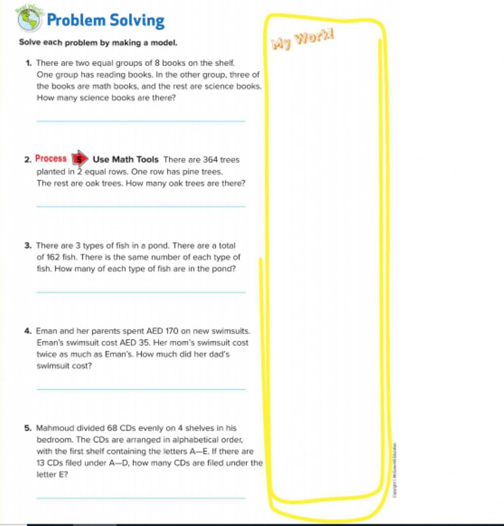 hight resolution of Lesson 4 Problem-Solving Investigation: Make a Model worksheet