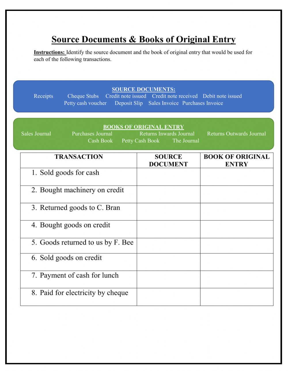 medium resolution of Source Documents and Books of Original Entry worksheet