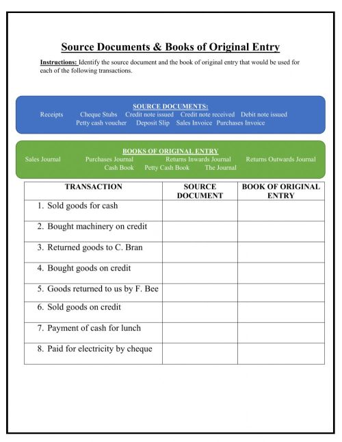 small resolution of Source Documents and Books of Original Entry worksheet