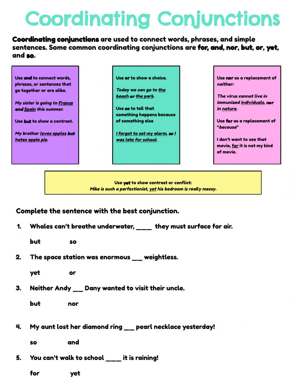 hight resolution of Coordinating Conjunctions- by Grammagical Time! worksheet