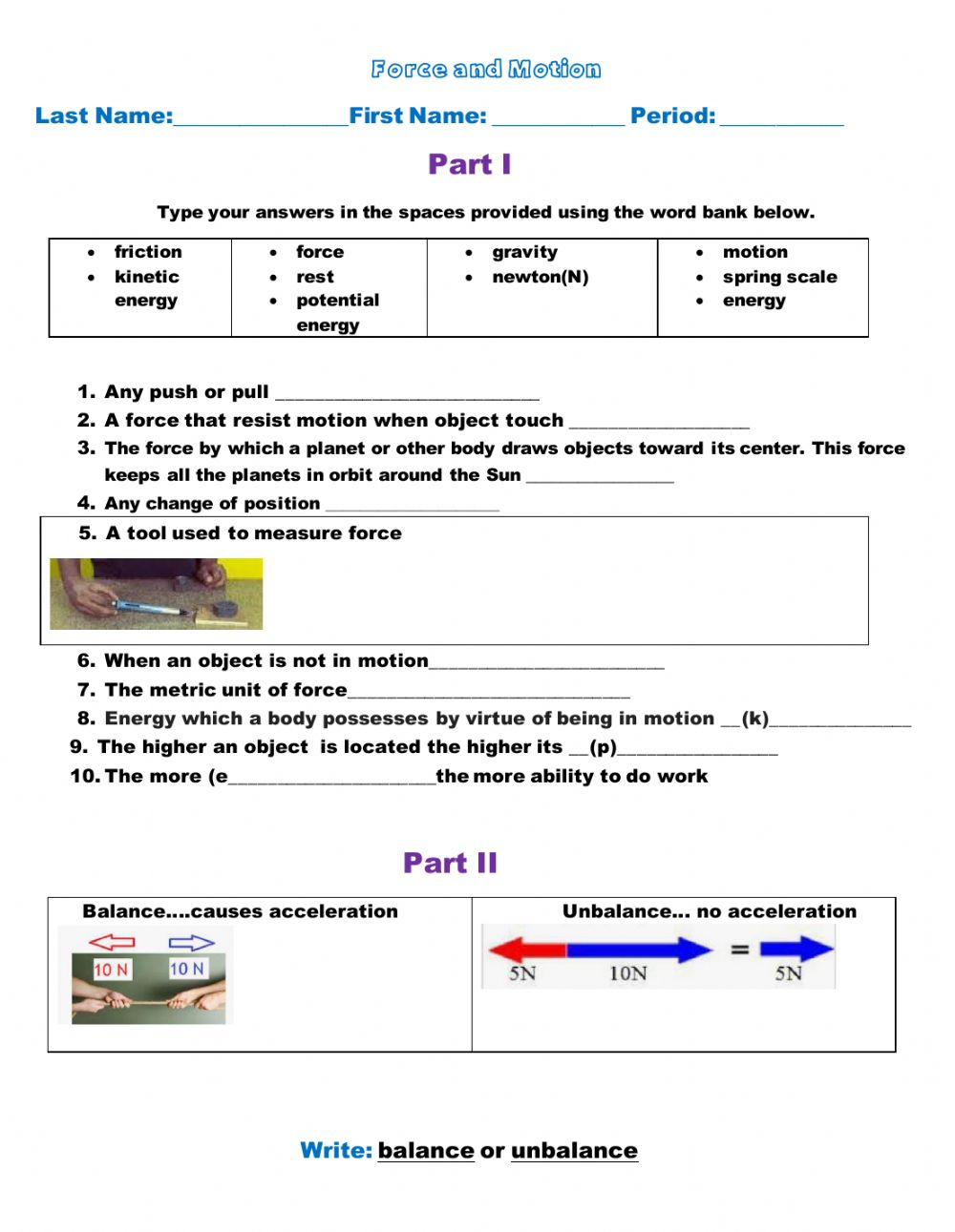 hight resolution of Balance and unbalance forces worksheet