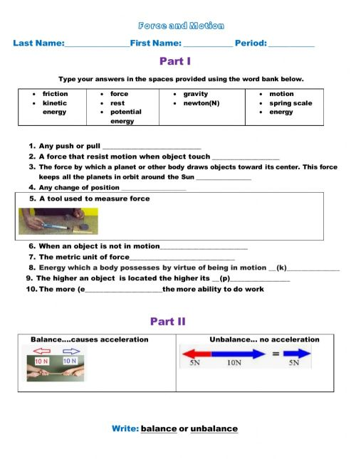 small resolution of Balance and unbalance forces worksheet