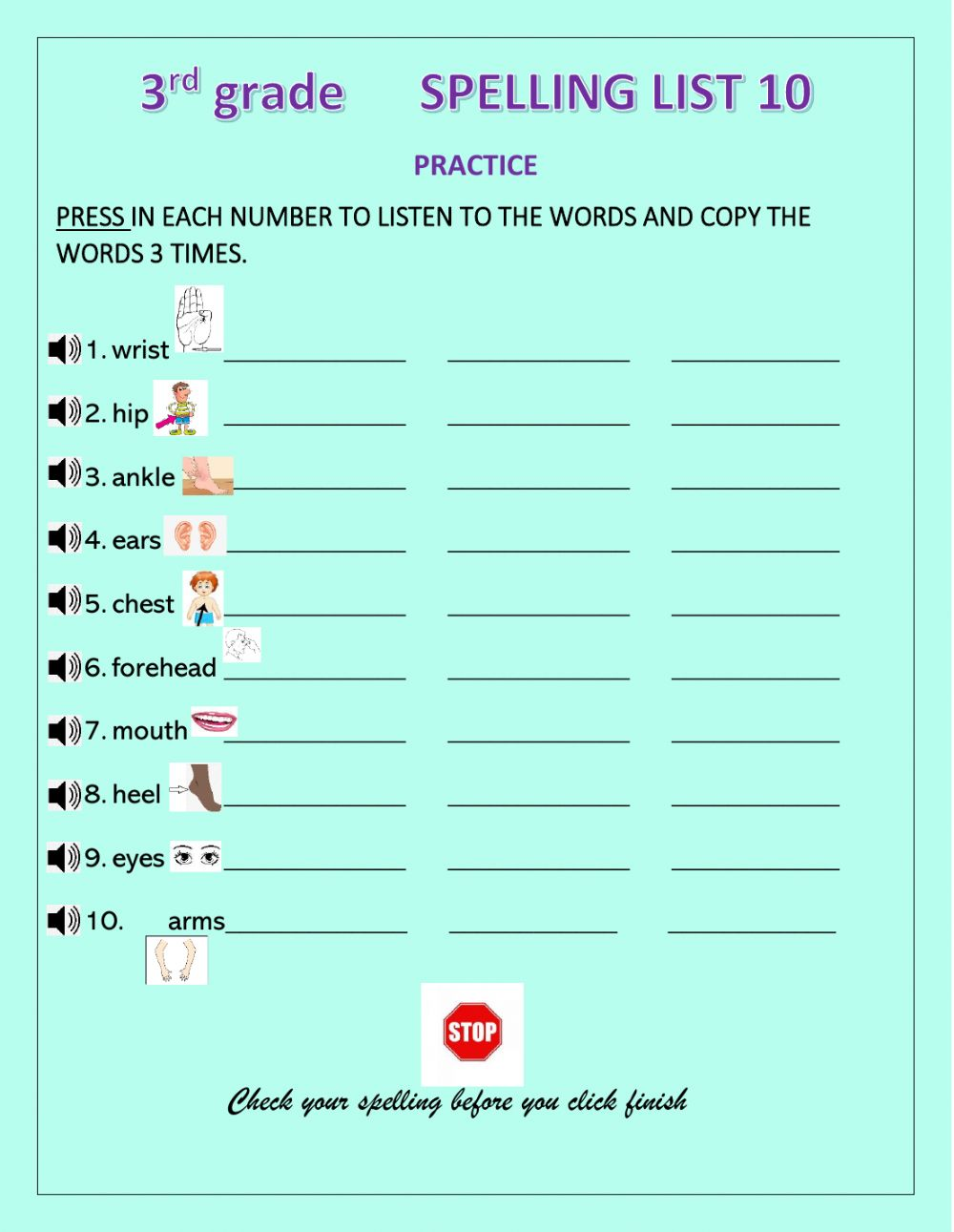 hight resolution of Spelling practice online exercise for 3rd Grade